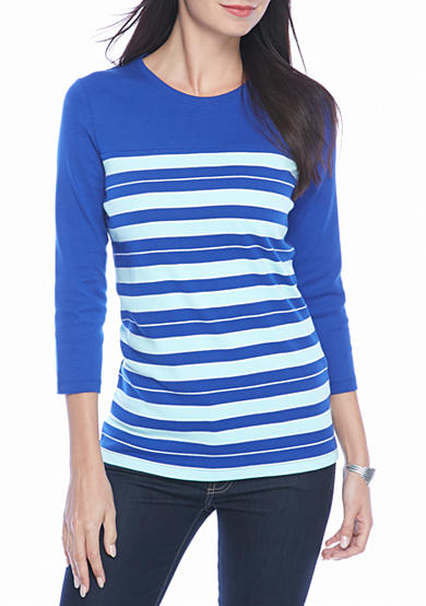 Kim Rogers® Ribbed Colorblock Stripe Knit Top