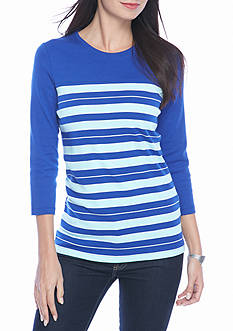 Kim Rogers Ribbed Colorblock Stripe Knit Top