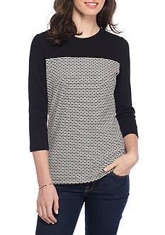 Kim Rogers Rib Color Block Crimp Stripe Top