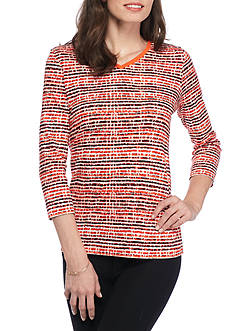 Kim Rogers Ribbed V-Neck Textured Knit Top