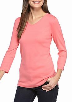 Kim Rogers Three-Quarter Sleeve V-Neck Shirt