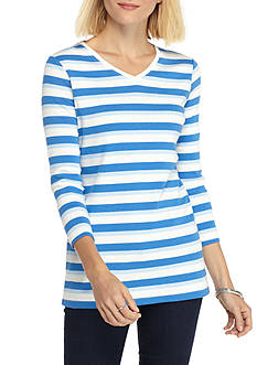 Kim Rogers Ribbed V-Neck Essential Stripe Knit Top