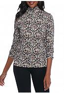 Kim Rogers® Bio Polish Mock Neck Printed Top