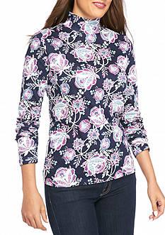 Kim Rogers Long Sleeve Mock Neck Floral Knit Top