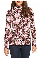 Kim Rogers® Long Sleeve Mock Neck Floral Knit