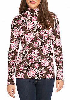 Kim Rogers® Long Sleeve Mock Neck Floral Knit Top