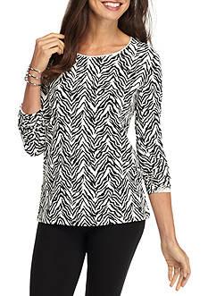 Kim Rogers Long Sleeve Shasa Zebra Print Top