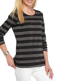 Kim Rogers Long Sleeve Stripe Crew Neck Top