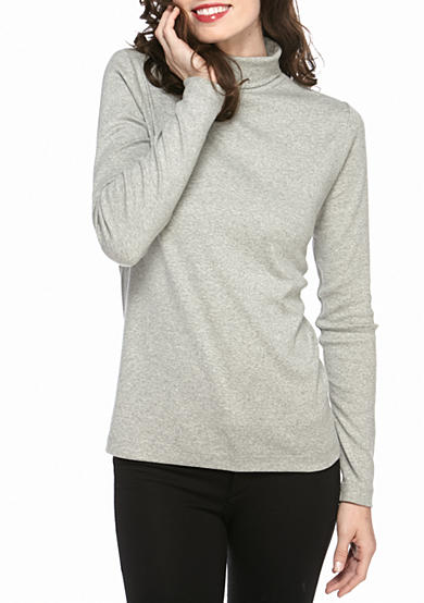 Kim Rogers® Long Sleeve Ribbed Turtle Neck Heather Knit Top