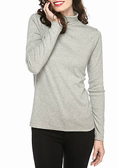 Kim Rogers Long Sleeve Ribbed Turtle Neck Heather Knit Top