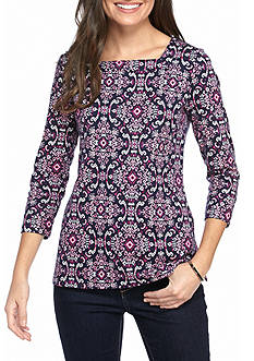 Kim Rogers Women's Three Quarter Sleeve Scope Patterned Top