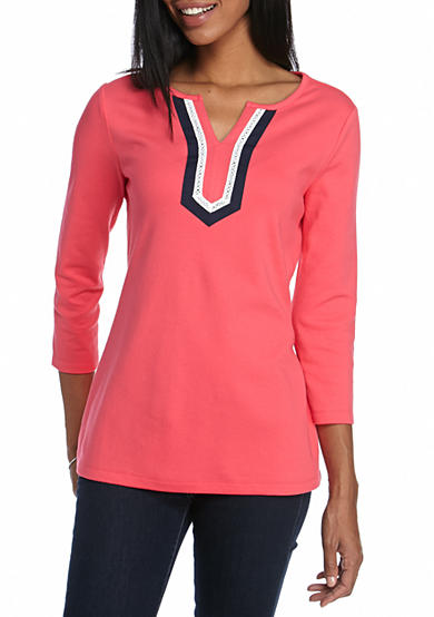 Kim Rogers® 3/4 Sleeve Split Neck Knit Top