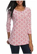 Kim Rogers® 3/4 Sleeve Jacquard Swing Top
