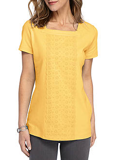 Kim Rogers Square Neck Front Schiffli Embroidery Top
