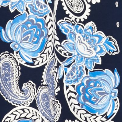 Kim Rogers Women Sale: Blue Kim Rogers 3/4 Sleeve Split Neck Floral Print Knit Top