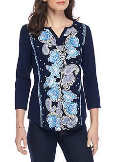 Kim Rogers 3/4 Sleeve Split Neck Floral Print Knit Top