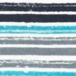 Knit Tops for Women: Turq/Gray/Navy Kim Rogers Three Quarter Sleeve Rib Knit Stripe Top
