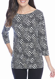 Kim Rogers Ribbed Boatneck Dot Knit Top