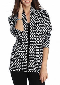 Kim Rogers Long Sleeve Jacquard Dot Cardigan