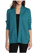 Kim Rogers® Long Sleeve Jacquard Dot Cardigan