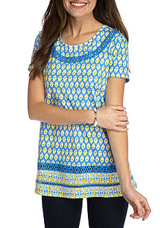 Kim Rogers Short Sleeve Swing Crochet Inset Top