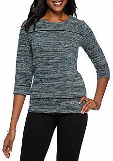 Kim Rogers 3/4 Sleeve Zip Back Jacquard