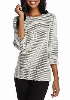 Kim Rogers Three Quarter Sleeve Printed Back Zip Jacquard Top