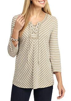 Kim Rogers Three-Quarter Lace-Up Stripe Blouse