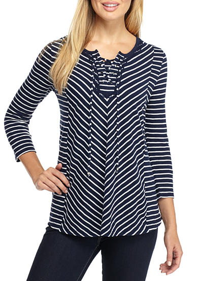 Kim Rogers® Three-Quarter Lace-Up Stripe Blouse