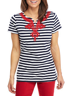 Kim Rogers® Short-Sleeve Split Neck Stripe Top