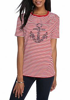 Kim Rogers Short Sleeve Graphic Nautical Shirt