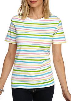 Kim Rogers Short Sleeve Crew Wave Stripe Top