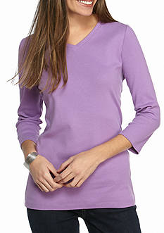 Kim Rogers V-Neck Solid 3/4 Sleeve Tee