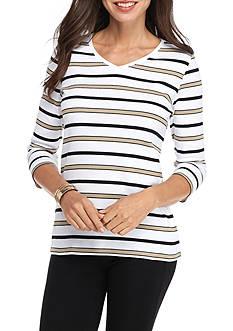Kim Rogers 3/4 Sleeve V Neck Stripe Top