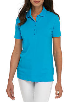 Kim Rogers Short Sleeve Solid Polo Shirt