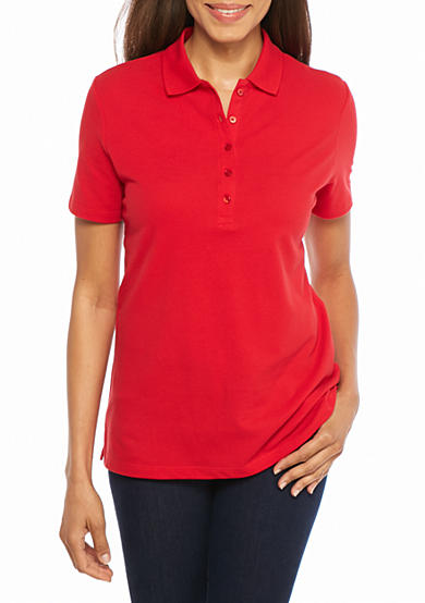 Kim Rogers® Short Sleeve Solid Polo Shirt