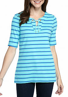 Kim Rogers® Elbow Sleeve Lace Up Stripe Top