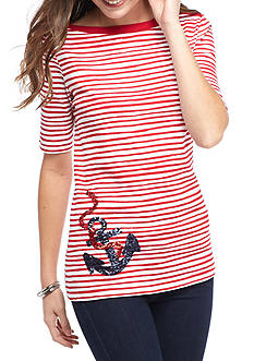 Kim Rogers Elbow Sleeve Boat Neck Anchor Top