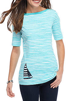 Kim Rogers Elbow Sleeve Boat Neck Sailboat Top