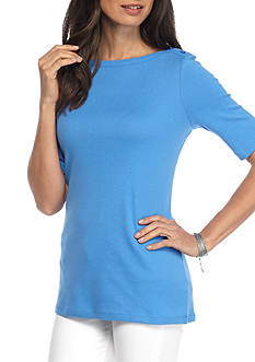 Kim Rogers Elbow Sleeve Boat Neck Solid Top
