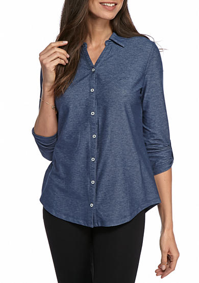 Kim Rogers® Denim Roll Sleeve Button Front Top