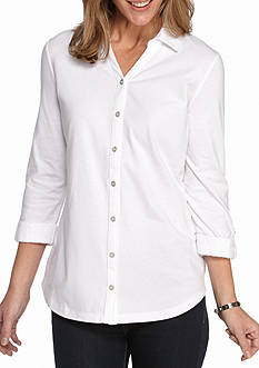 Kim Rogers Three-Quarter Sleeve Button Front Lace Cuff Shirt