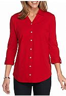 Kim Rogers® Three-Quarter Sleeve Button Front