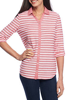 Kim Rogers Roll Sleeve Button-Front Jacquard Top