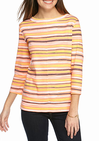 Kim Rogers® Boatneck Stripe Top with Seam Detail