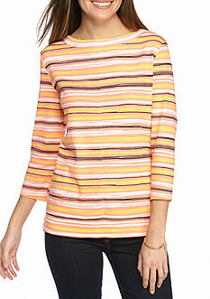 Kim Rogers Boatneck Stripe Top with Seam Detail