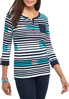 Kim Rogers Henley Rectangle Knit Top