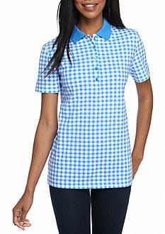 Kim Rogers Short Sleeve Gingham Polo Shirt