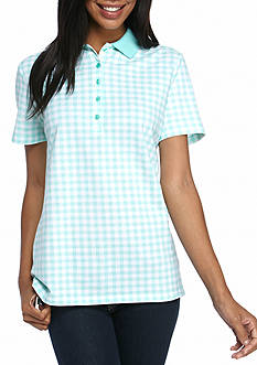Kim Rogers Short Sleeve Gingham Polo Shirt