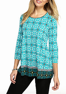 Kim Rogers Three Quarter Swing Geo Border Top